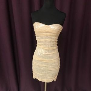 Express Gold Strapless Dress
